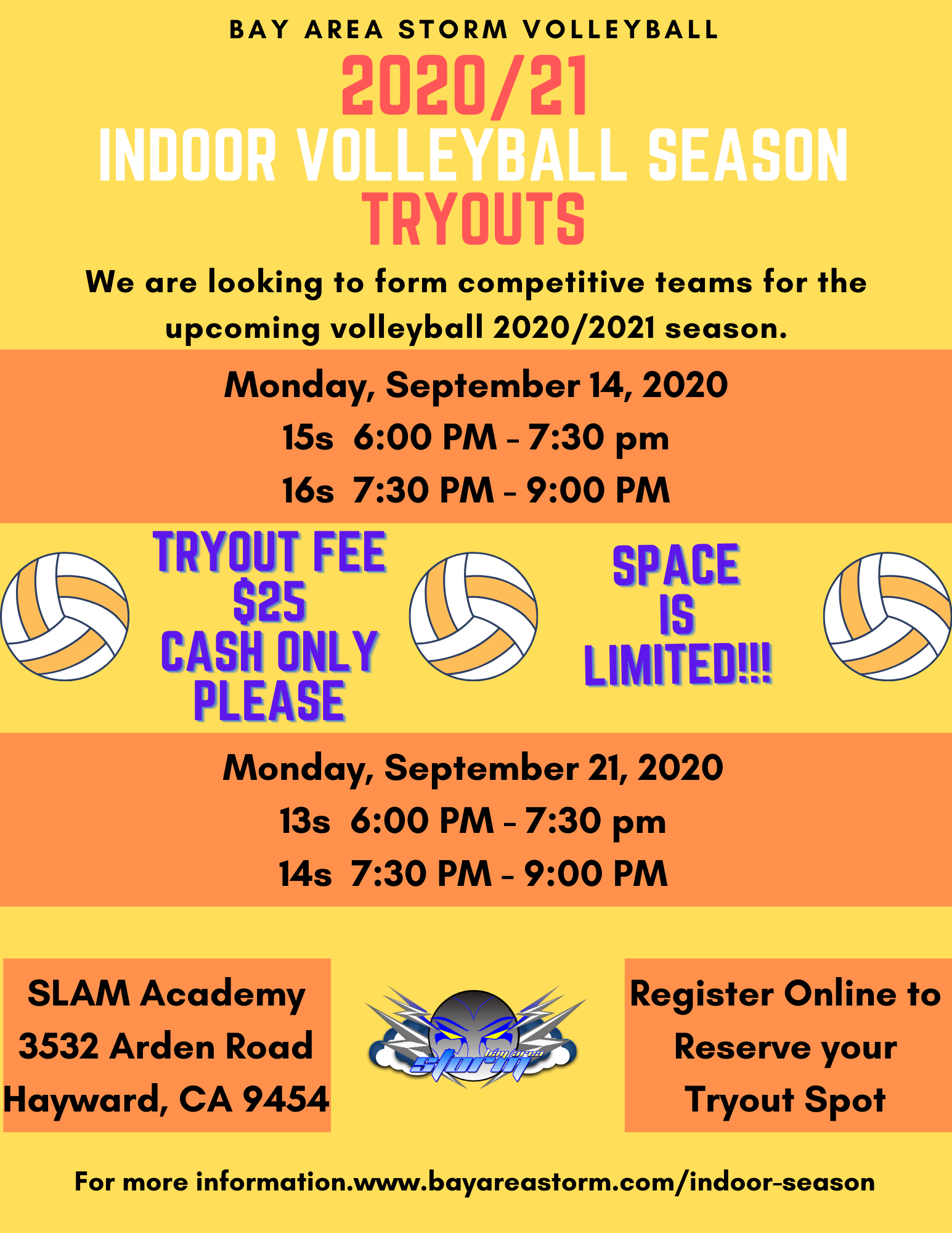 2018 19 Bay Area Storm Volleyball Tryouts
