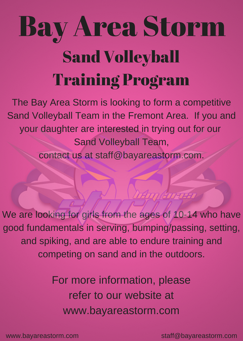 Bay Area Storm Sand Volleyball Training Program